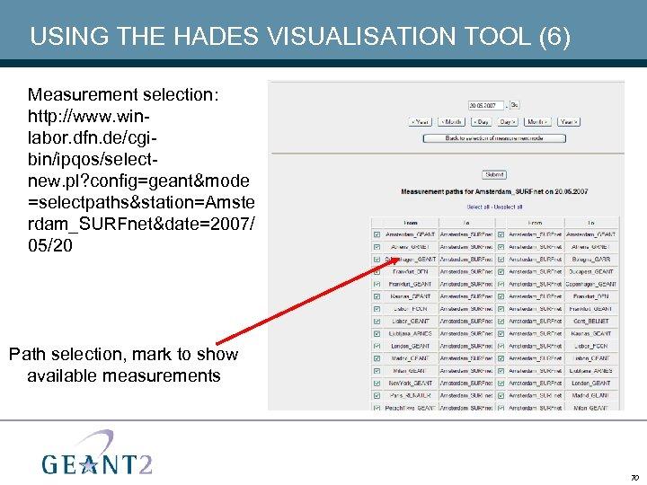 USING THE HADES VISUALISATION TOOL (6) Measurement selection: http: //www. winlabor. dfn. de/cgibin/ipqos/selectnew. pl?