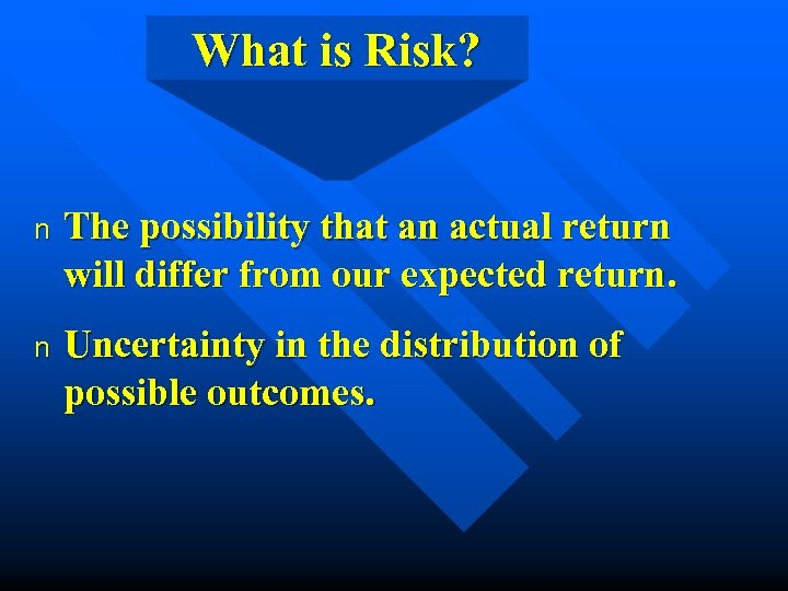 What is Risk? n The possibility that an actual return will differ from our