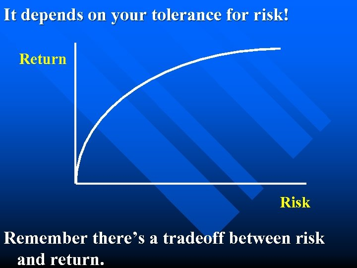 It depends on your tolerance for risk! Return Risk Remember there's a tradeoff between