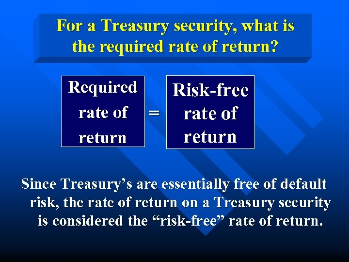 For a Treasury security, what is the required rate of return? Required Risk-free rate