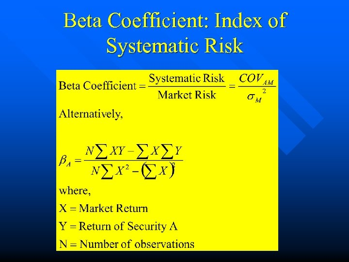Beta Coefficient: Index of Systematic Risk
