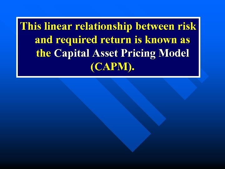 This linear relationship between risk and required return is known as the Capital Asset
