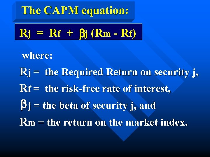 The CAPM equation: Rj = Rf + bj (Rm - Rf) where: Rj =