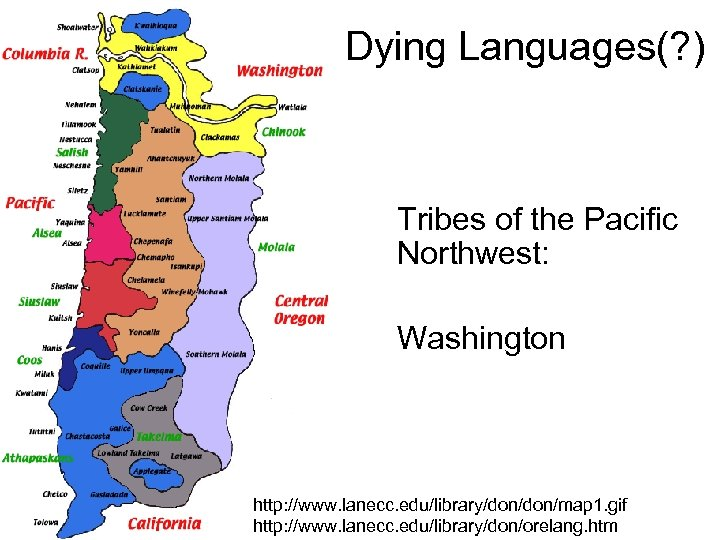 Dying Languages(? ) Tribes of the Pacific Northwest: Washington http: //www. lanecc. edu/library/don/map 1.