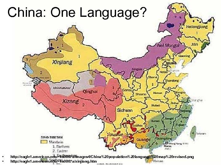 China: One Language? • • http: //eagle 1. american. edu/~ks 0867 a/images 4/China%20 population%20