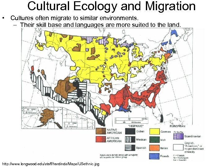 Cultural Ecology and Migration • Cultures often migrate to similar environments. – Their skill