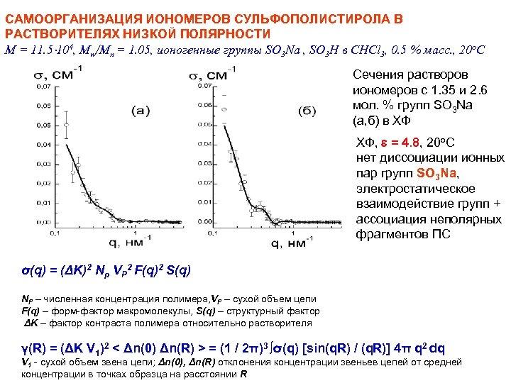 САМООРГАНИЗАЦИЯ ИОНОМЕРОВ СУЛЬФОПОЛИСТИРОЛА В РАСТВОРИТЕЛЯХ НИЗКОЙ ПОЛЯРНОСТИ M = 11. 5 104, Mw/Mn =