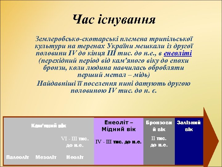 Час існування Землеробсько-скотарські племена трипільської культури на теренах України мешкали із другої половини ІV