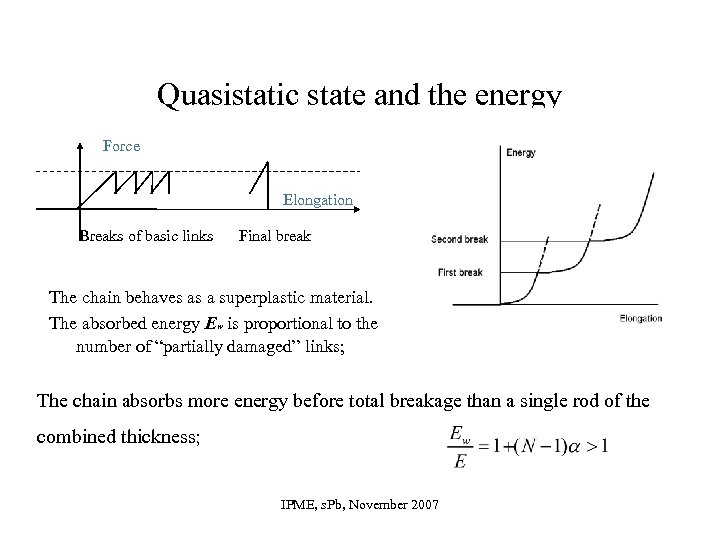 Quasistatic state and the energy Force Elongation Breaks of basic links Final break The