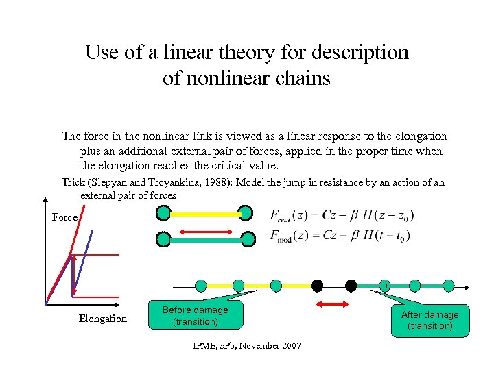 Use of a linear theory for description of nonlinear chains The force in the