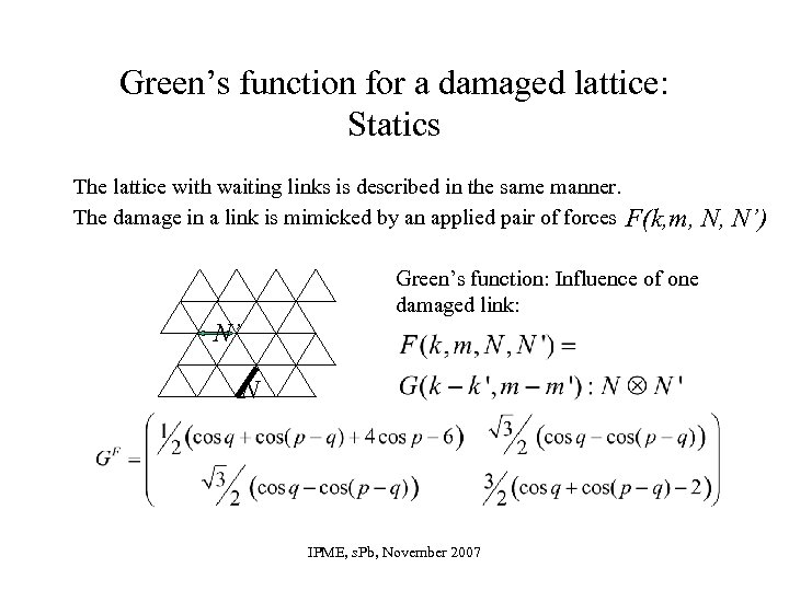 Green's function for a damaged lattice: Statics The lattice with waiting links is described