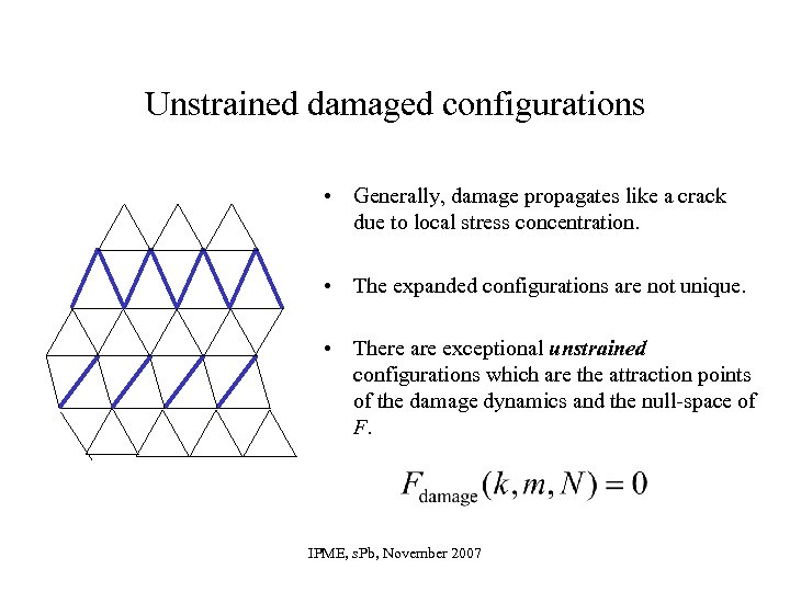 Unstrained damaged configurations • Generally, damage propagates like a crack due to local stress