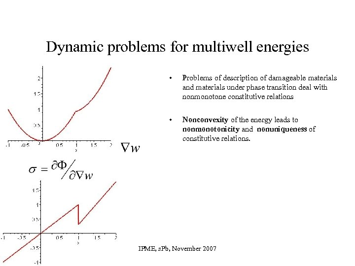 Dynamic problems for multiwell energies • Problems of description of damageable materials and materials