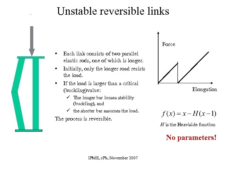 Unstable reversible links Force • • • Each link consists of two parallel elastic