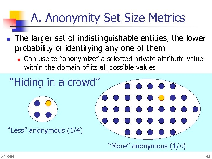 A. Anonymity Set Size Metrics n The larger set of indistinguishable entities, the lower