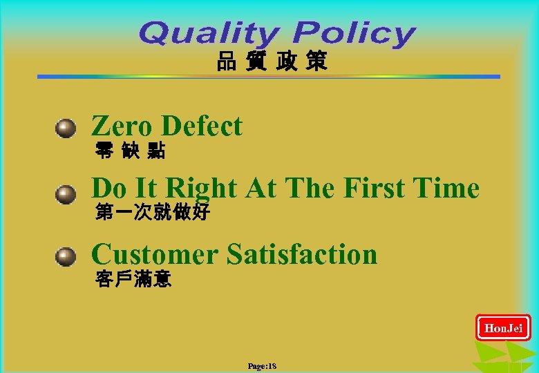 品質政策 Zero Defect 零缺點 Do It Right At The First Time 第一次就做好 Customer Satisfaction
