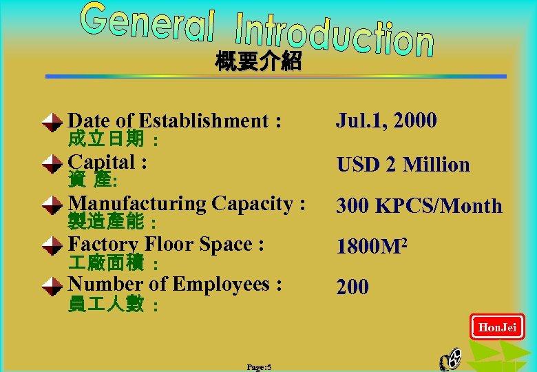 概要介紹 Date of Establishment : Jul. 1, 2000 Capital : USD 2 Million Manufacturing