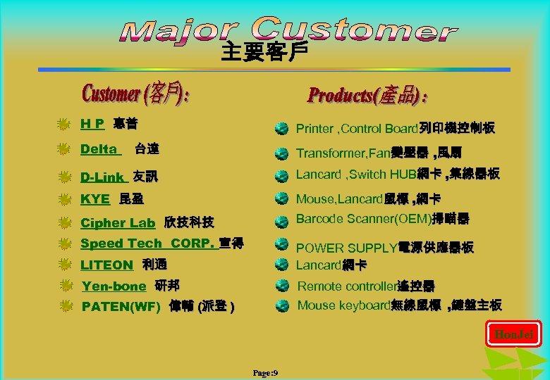 主要客戶 H P 惠普 Printer , Control Board列印機控制板 Delta Transformer, Fan變壓器 , 風扇 台達