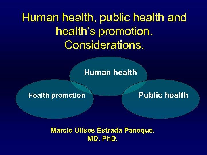 Human health, public health and health's promotion. Considerations. Human health Health promotion Public health