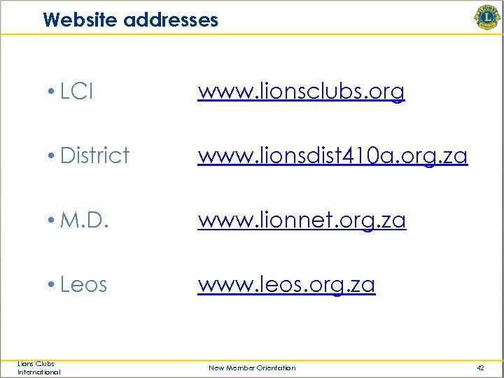 Website addresses • LCI www. lionsclubs. org • District www. lionsdist 410 a. org.