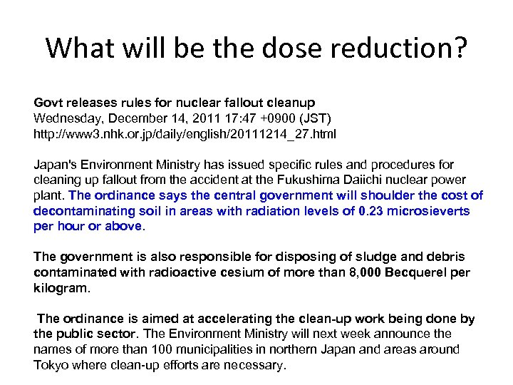 What will be the dose reduction? Govt releases rules for nuclear fallout cleanup Wednesday,