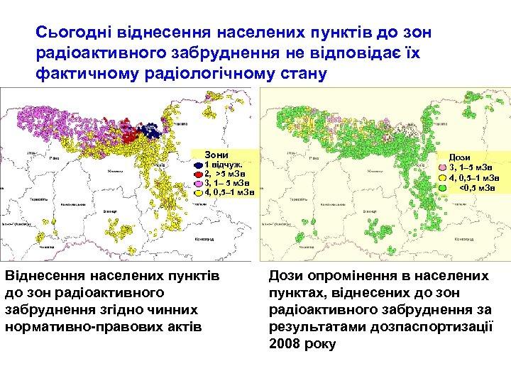 Сьогодні віднесення населених пунктів до зон радіоактивного забруднення не відповідає їх фактичному радіологічному стану