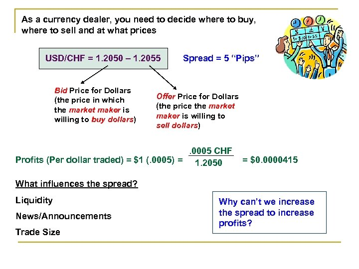 As a currency dealer, you need to decide where to buy, where to sell