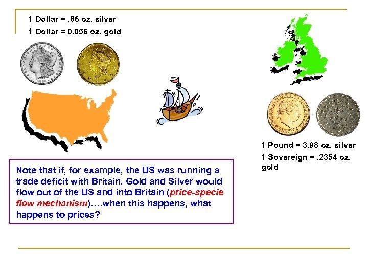 1 Dollar =. 86 oz. silver 1 Dollar = 0. 056 oz. gold Note