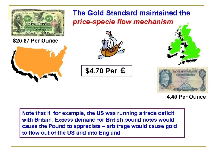 The Gold Standard maintained the price-specie flow mechanism $20. 67 Per Ounce $4. 70