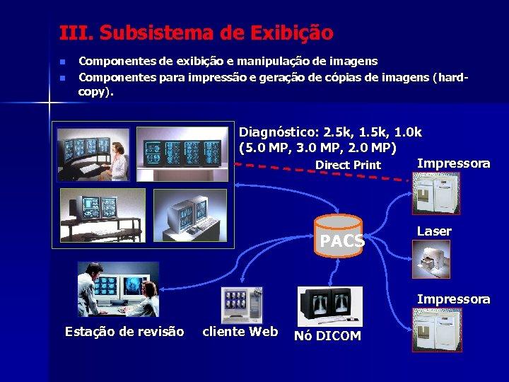 III. Subsistema de Exibição n n Componentes de exibição e manipulação de imagens Componentes