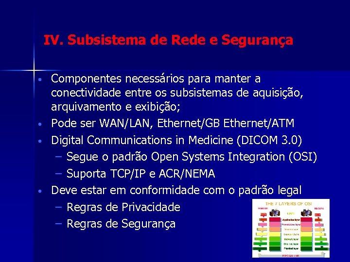 IV. Subsistema de Rede e Segurança • • Componentes necessários para manter a conectividade