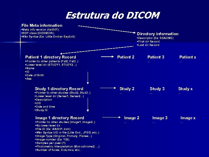 Estrutura do DICOM File Meta information • Meta info version (0 x 0001) •