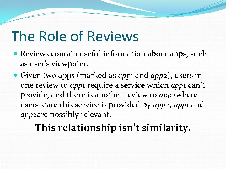 The Role of Reviews contain useful information about apps, such as user's viewpoint. Given