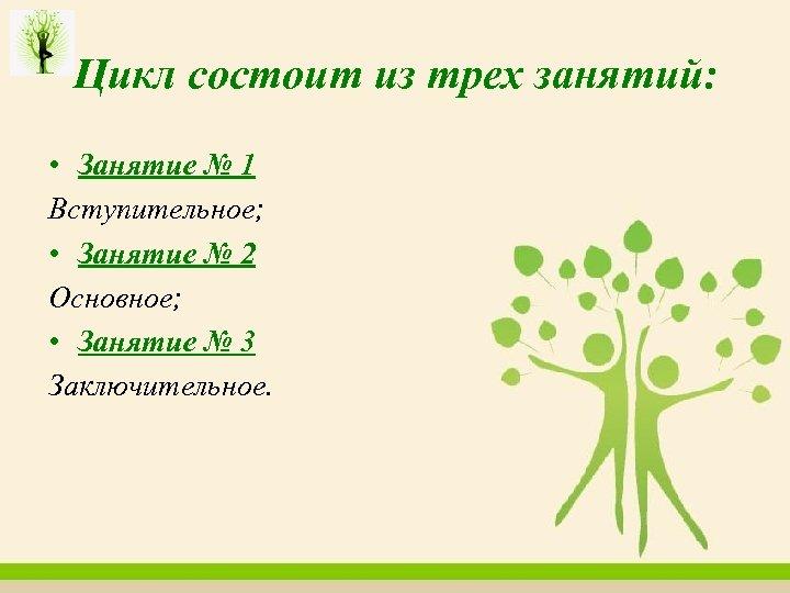 Цикл состоит из трех занятий: • Занятие № 1 Вступительное; • Занятие № 2