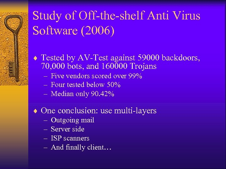 Study of Off-the-shelf Anti Virus Software (2006) ¨ Tested by AV-Test against 59000 backdoors,