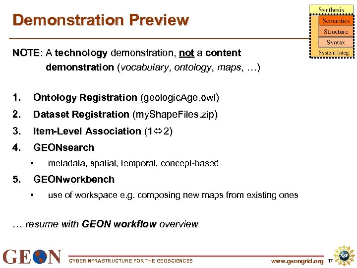 Demonstration Preview NOTE: A technology demonstration, not a content demonstration (vocabulary, ontology, maps, …)