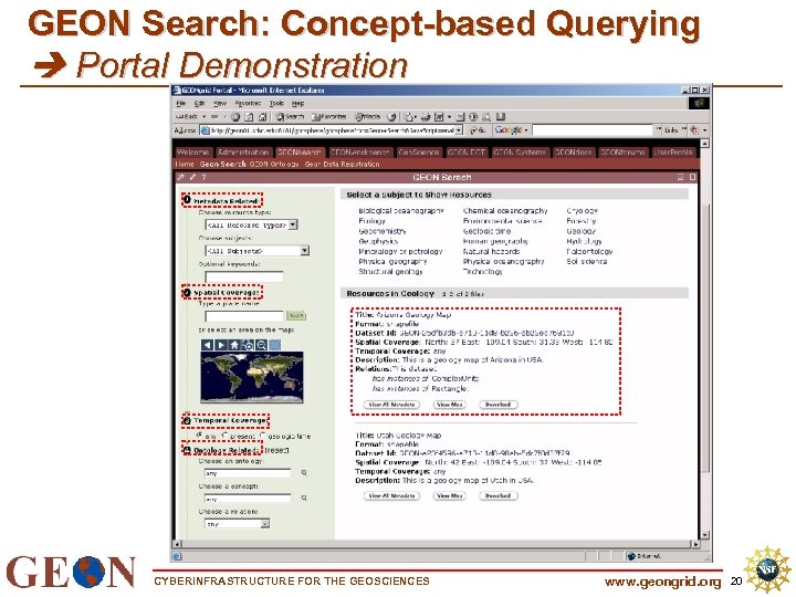 GEON Search: Concept-based Querying Portal Demonstration CYBERINFRASTRUCTURE FOR THE GEOSCIENCES www. geongrid. org 20