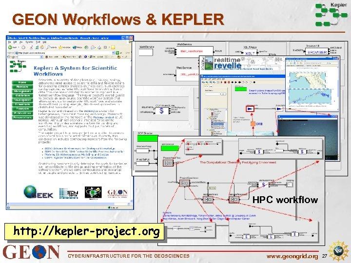 GEON Workflows & KEPLER HPC workflow http: //kepler-project. org CYBERINFRASTRUCTURE FOR THE GEOSCIENCES www.