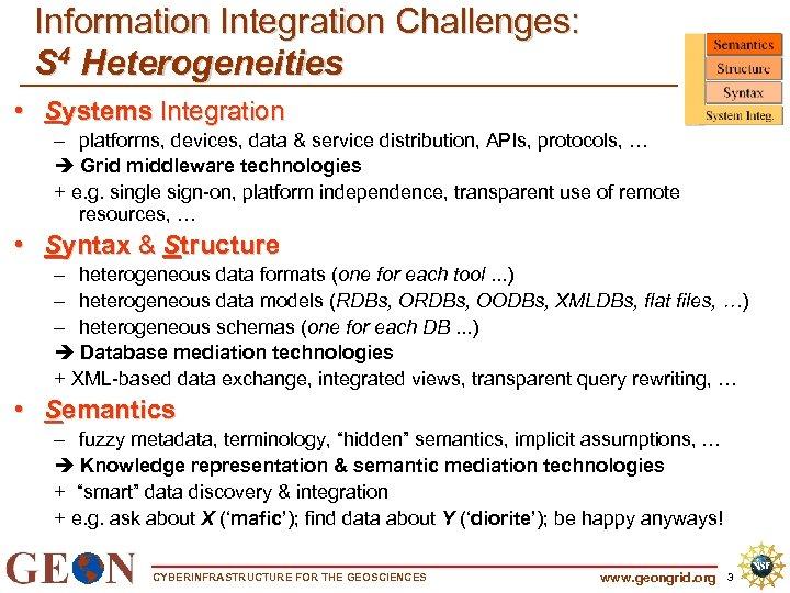 Information Integration Challenges: S 4 Heterogeneities • Systems Integration – platforms, devices, data &