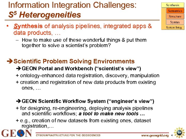 Information Integration Challenges: S 5 Heterogeneities • Synthesis of analysis pipelines, integrated apps &