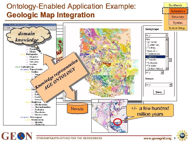 Ontology-Enabled Application Example: Geologic Map Integration domain knowledge n Show io tat n ese