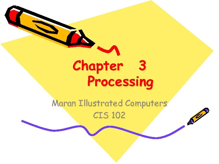 Chapter 3 Processing Maran Illustrated Computers CIS 102