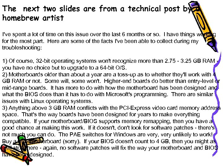 The next two slides are from a technical post by a homebrew artist I've