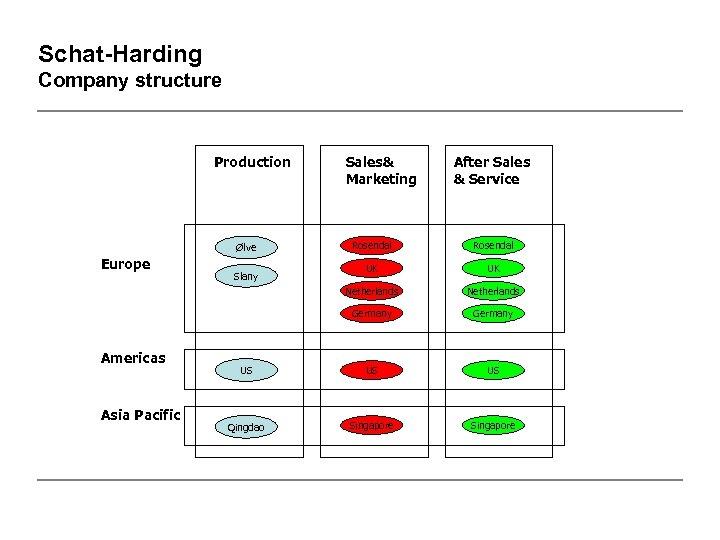 Schat-Harding Company structure Production Sales& Marketing After Sales & Service Rosendal UK UK Netherlands