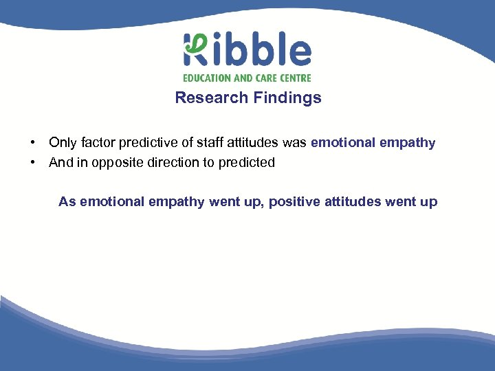 Research Findings • Only factor predictive of staff attitudes was emotional empathy • And