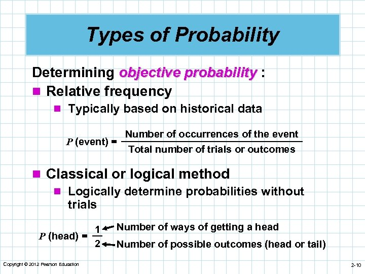 Types of Probability Determining objective probability : n Relative frequency n Typically based on