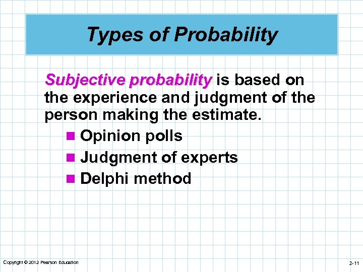 Types of Probability Subjective probability is based on the experience and judgment of the