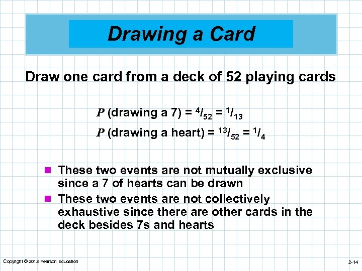 Drawing a Card Draw one card from a deck of 52 playing cards P