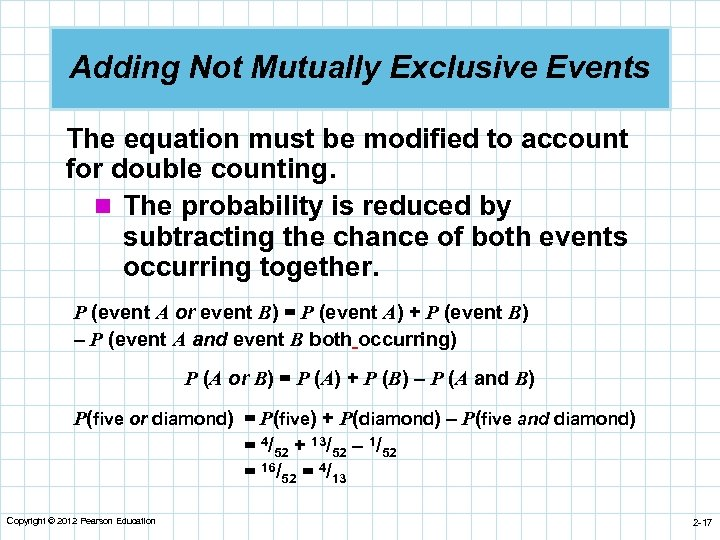 Adding Not Mutually Exclusive Events The equation must be modified to account for double
