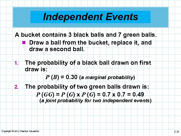 Independent Events A bucket contains 3 black balls and 7 green balls. n Draw